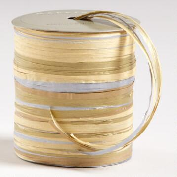 Silver, Natural and Gold Raffia Multi-Tie Ribbon