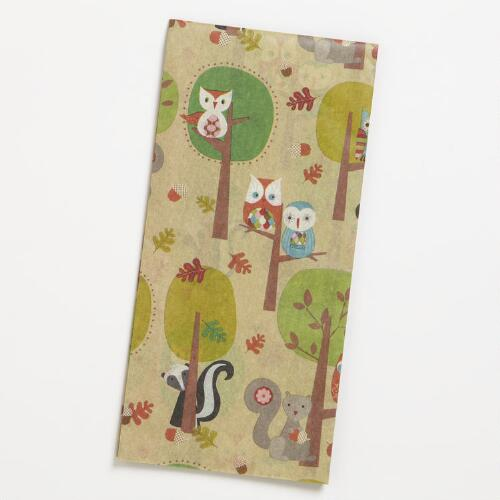 Owl Squirrel Scene Tissue Paper
