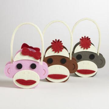 Sock Monkey Felt Container, Set of 3
