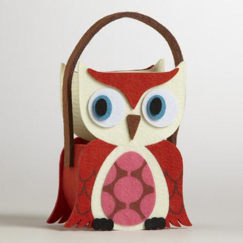 Orange Wing Owl Felt Container