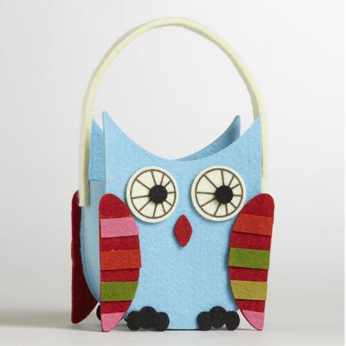 Stripe Wing Owl Felt Container