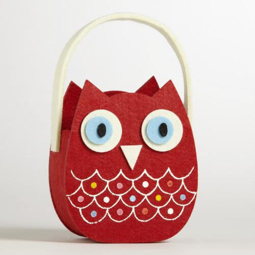 Red Owl Felt Container