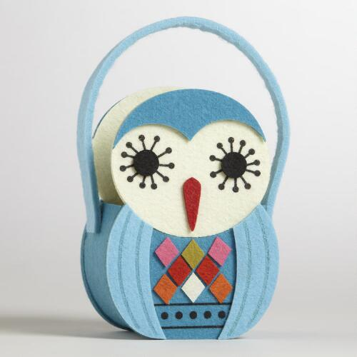 Blue Owl Felt Container