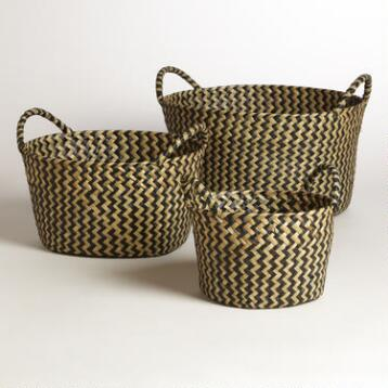 Black and White Round Michelle Baskets