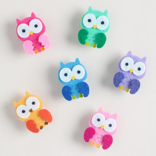 Felt Birthday Owl Clips, Set of 6