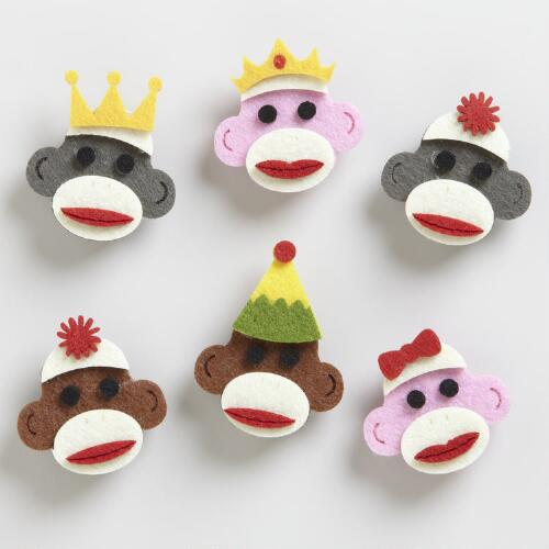 Felt Sock Monkey Clips, Set of 6