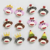 Felt Sock Monkey Stickers, Set of 12