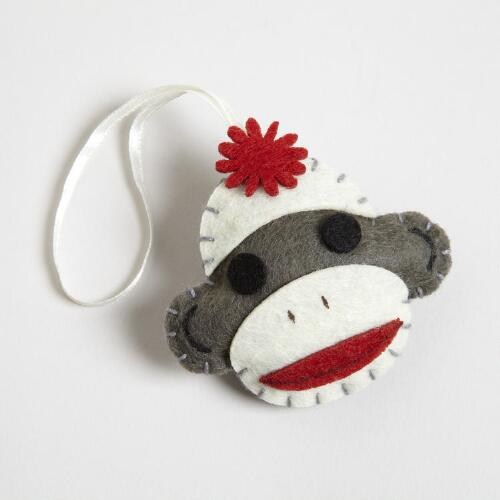 Gray Felt Sock Monkey Gift Topper
