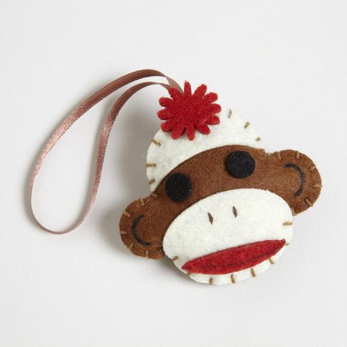 Brown Felt Sock Monkey Gift Topper