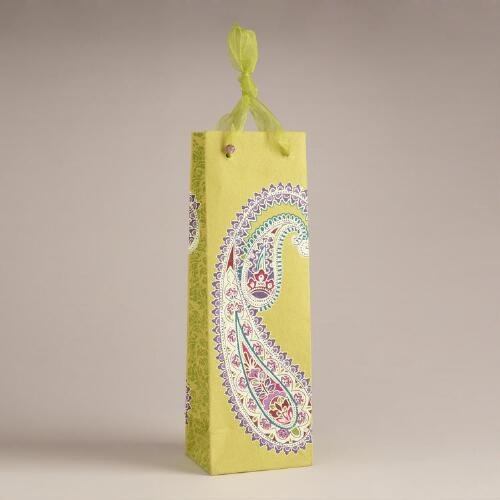 Large Green Paisley Handmade Paper Wine Bag