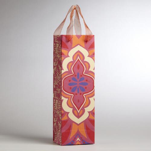 Pink Medallion Handmade Wine Bag