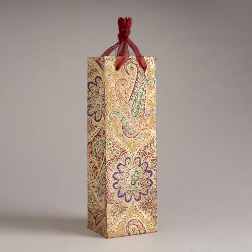 Gold Rialto Handmade Paper Wine Bag