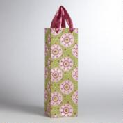 Pink Medallion on Green Handmade Wine Bag