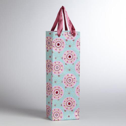 Pink Medallion on Blue Handmade Wine Bag