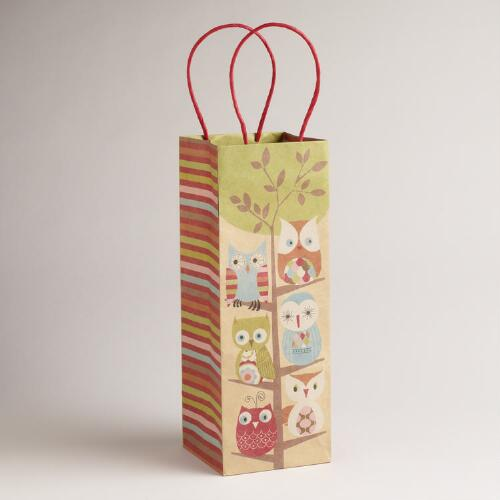 All Owls in Tree Kraft Wine Bag