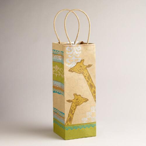 Giraffe Animalia Kraft Wine Bag