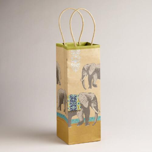 Elephants Animalia Kraft Wine Bag