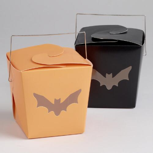 Black and Orange Take-Out Boxes, Set of 4