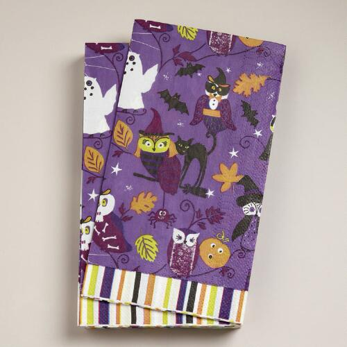 Owls on Purple Lunch Napkins, Set of 16