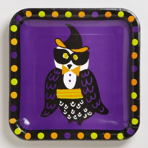 Owl with Polka Dots Plates, Set of 8