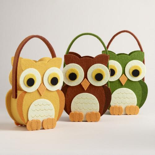 Harvest Owls Felt Containers, Set of 3