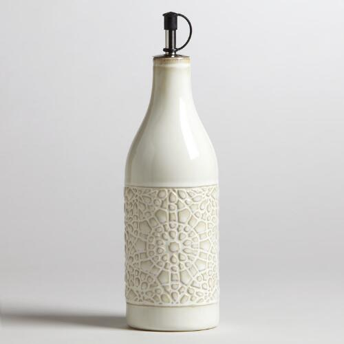 Ivory Ceramic Venetian Oil Bottle