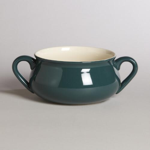 Dark Teal Double-Handled Soup Crock
