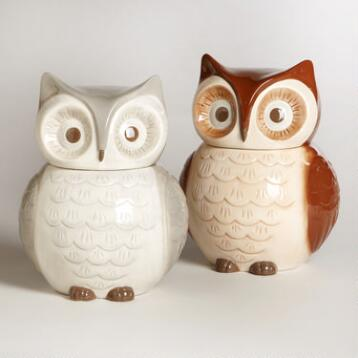 Owl Cookie Jars, Set of 2