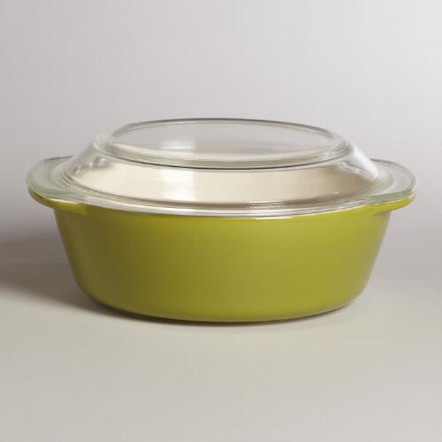 Chive Glass Top Round Baker