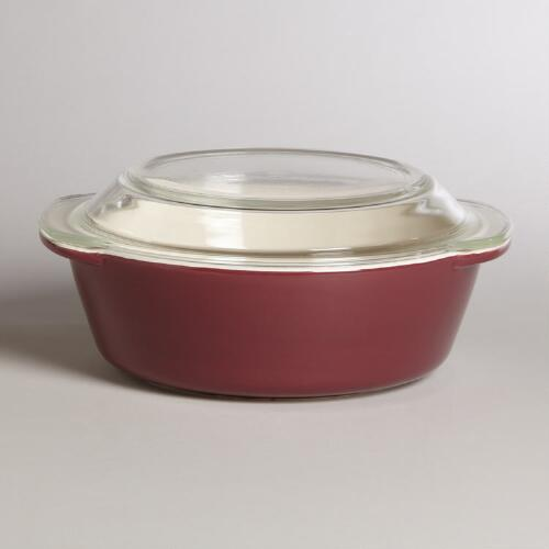 Merlot Glass Top Round Baker