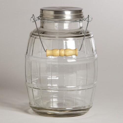 Glass Wine Barrel Jar