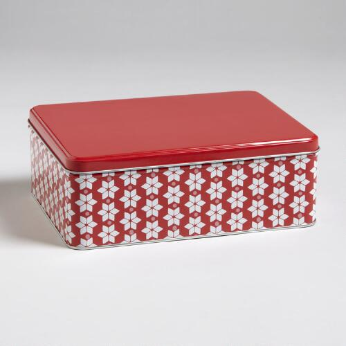 Red Snowflake Rectangular Tin