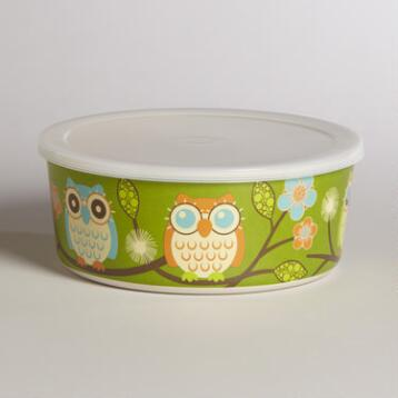 Medium Green Owl Bamboo Bowl with Lid