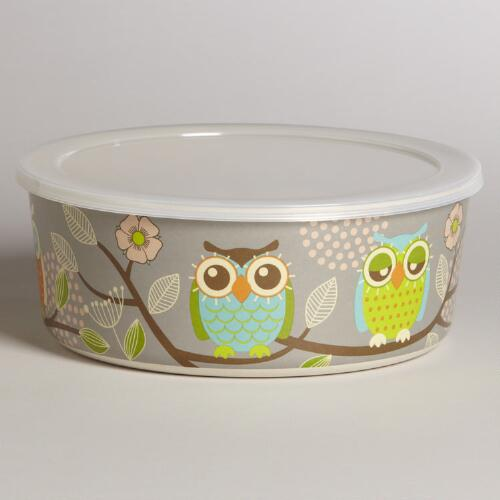 Large Grey Owl Bamboo Bowl with Lid
