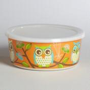 Small Orange Owl Bamboo Bowl with Lid