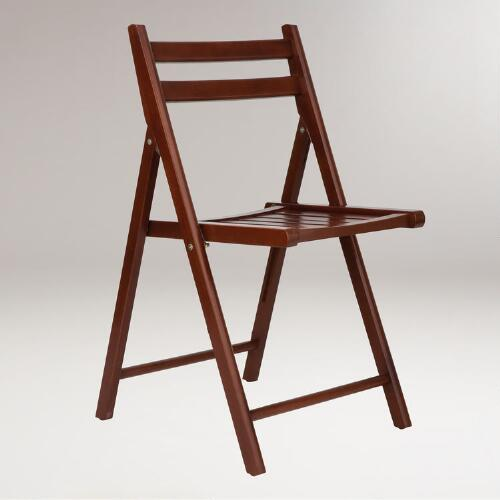 Walnut Folding Chair, Set of 4