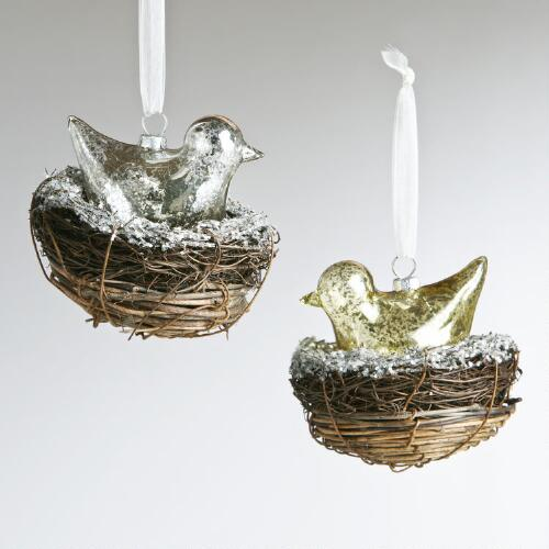 Glass Bird in Nest Ornaments, Set of 2