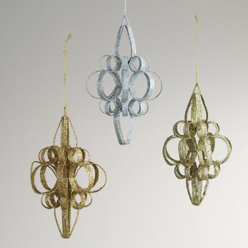 Metal Glitter Scroll Ornaments, Set of 3