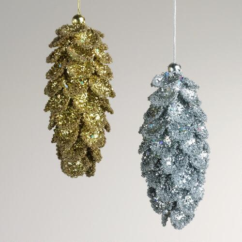 Glitter Pinecone Ornaments, Set of 2