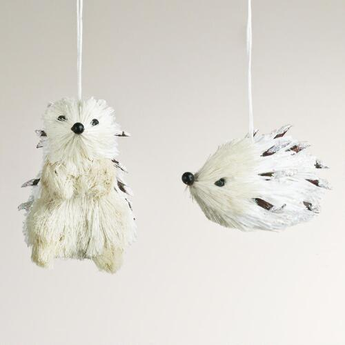 White Natural Fiber Hedgehog Ornaments, Set of 2