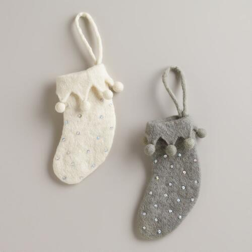 Felted Wool Noel Stocking Ornaments, Set of 2
