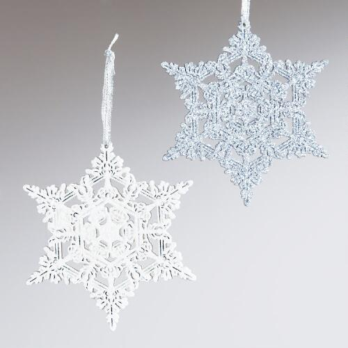 Wood Laser Cut Glitter Snowflake Ornaments, Set of 2