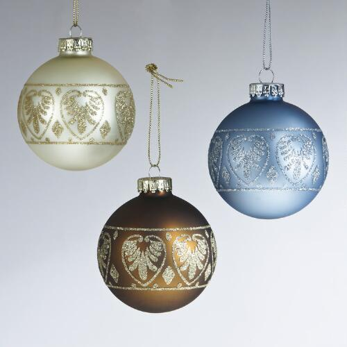 Glass Parisian Motif Ball Ornaments, Set of 3