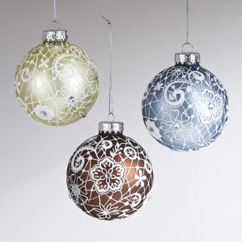 Glass Glitter Lace Ball Ornaments, Set of 3