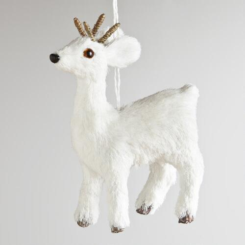White Natural Fiber Deer Ornament