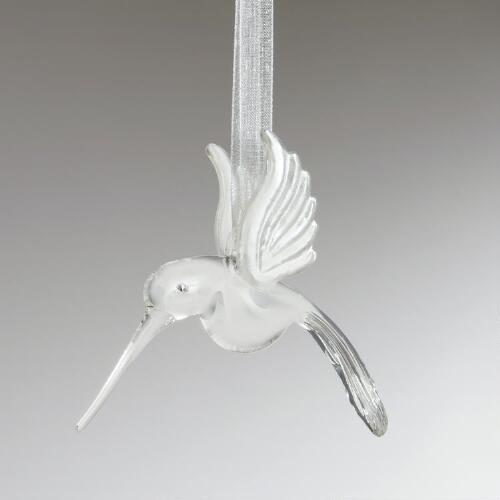 Clear Glass Hummingbird Ornament