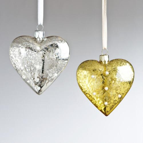 Etched Mercury Glass Heart Ornaments, Set of 2