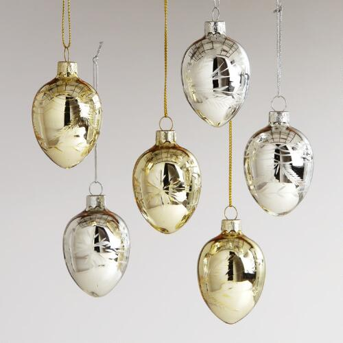 Etched Glass Egg Ornaments, Set of 6