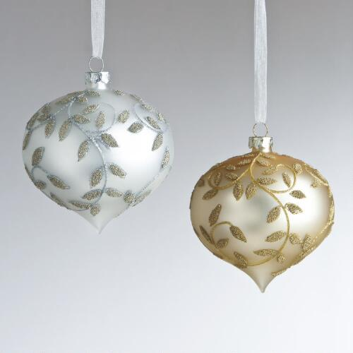 Beaded Glass Vine Ornaments, Set of 2