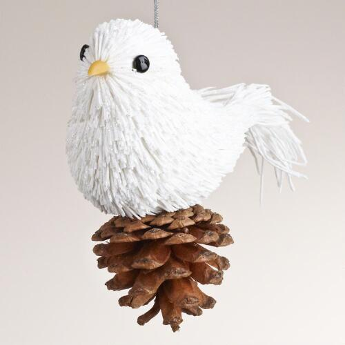 Paper Bird on Pinecone Ornament